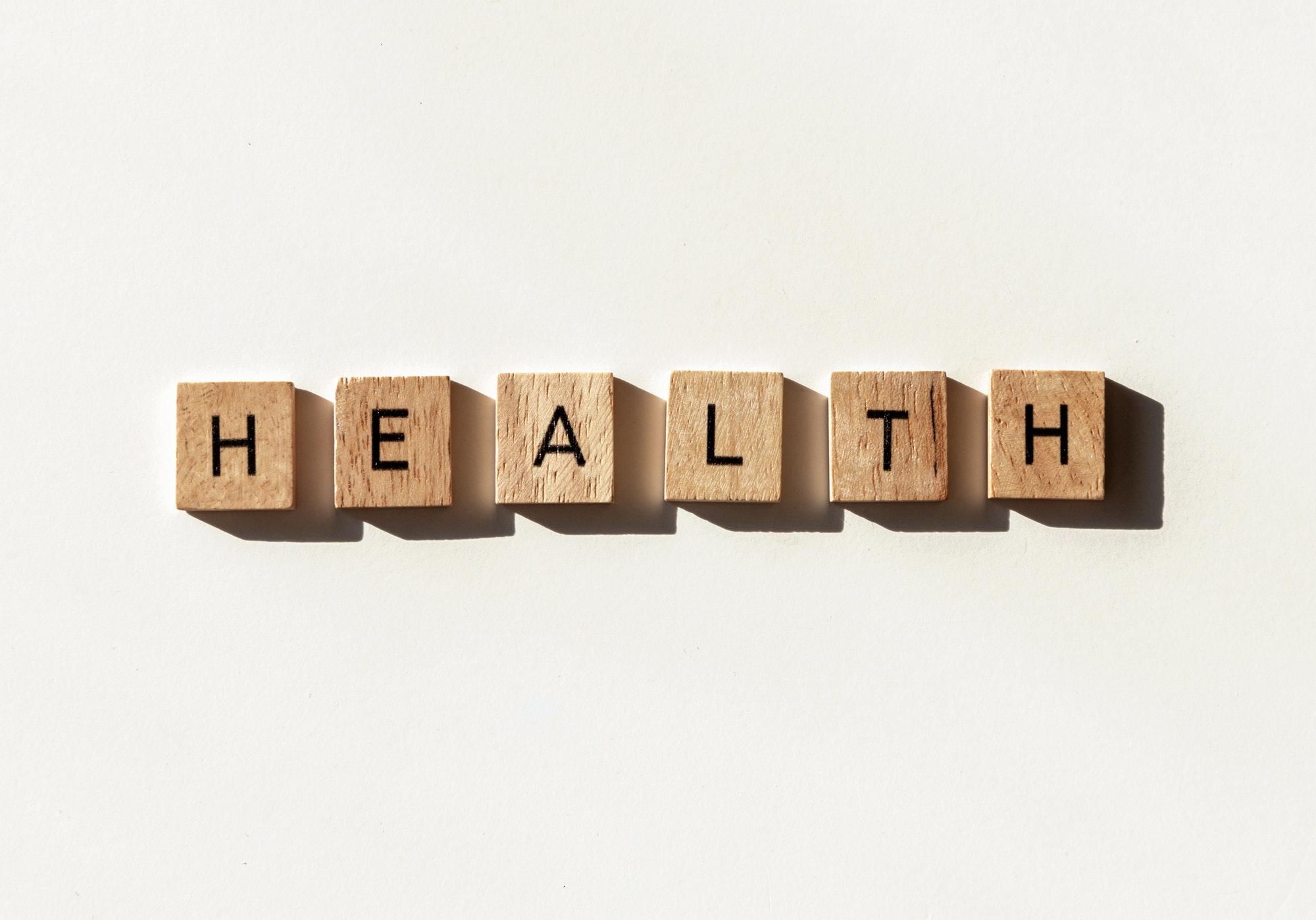 Health in letter tiles